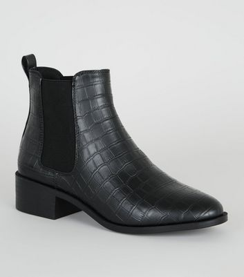 black-faux-croc-chelsea-boots by new-look