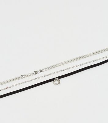 3 Pack Silver Grunge Chokers