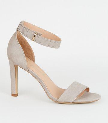 Grey Suedette Slim Heel Sandals