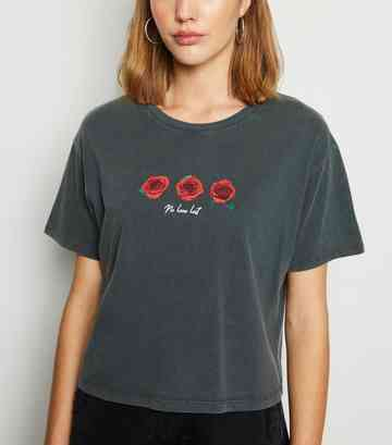 Dark Grey Acid Wash Rose Love Slogan T-Shirt