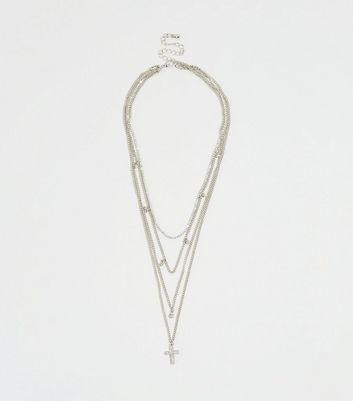 Silver Cross Diamanté Layered Necklace