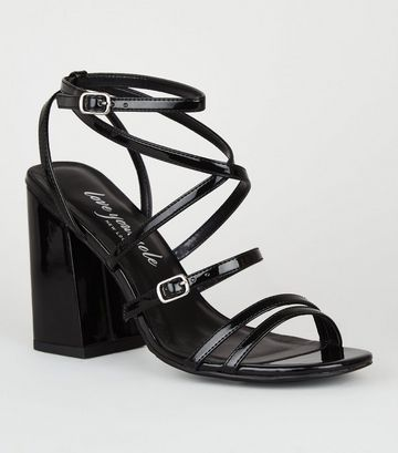 Black Patent Strappy Flared Block Heels