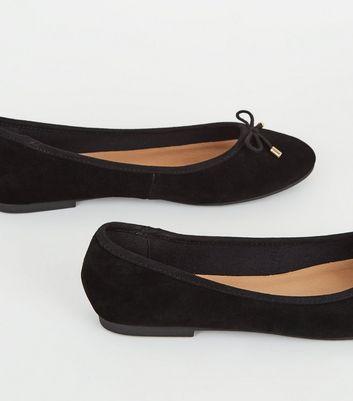 Black Suede Bow Front Ballet Pumps