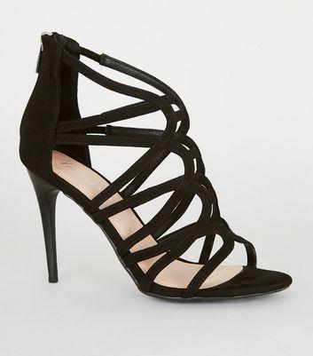 Black Suedette Strappy Stiletto Heels