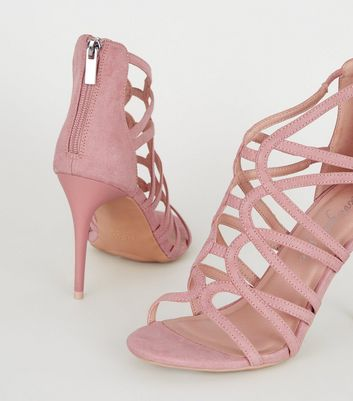 shop for Pink Suedette Strappy Stiletto Heels New Look at Shopo