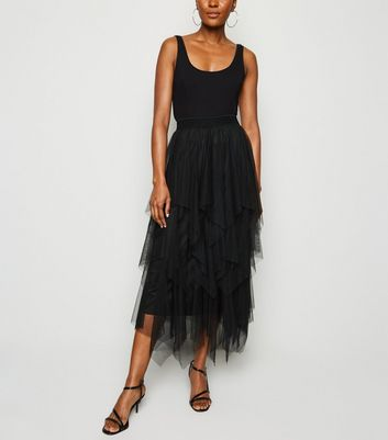 Cameo Rose Black Layered Mesh Skirt