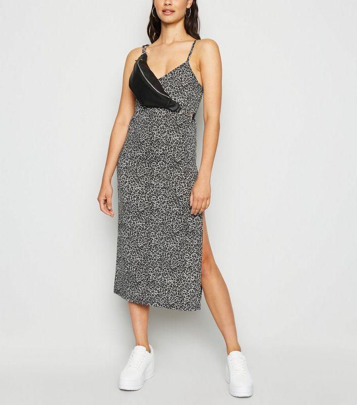 b5206fbb60a4 Cameo Rose Light Grey Leopard Print Midi Dress   New Look