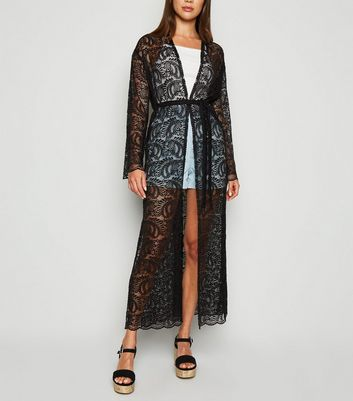Carpe Diem Black Lace Belted Cardigan