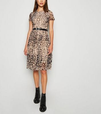 Carpe Diem Brown Leopard Print Mesh Skater Dress