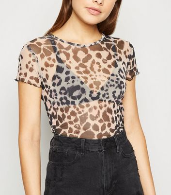 Carpe Diem Brown Leopard Mesh T-Shirt
