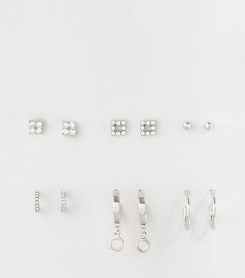 6 Pack Silver Diamanté Mixed Earrings