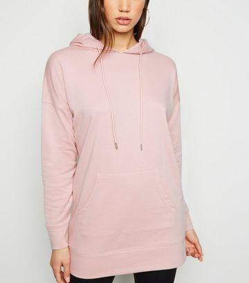 Mid Pink Longline Hoodie Dress