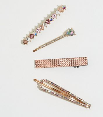 4 Pack Multicoloured Mixed Diamanté Hair Slides