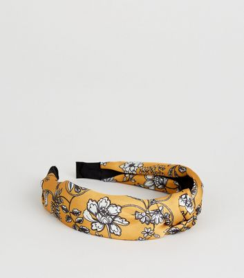 Mustard Floral Knot Alice Band