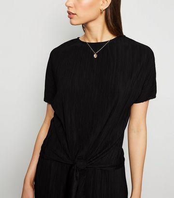 Black Plissé Tie Front Top