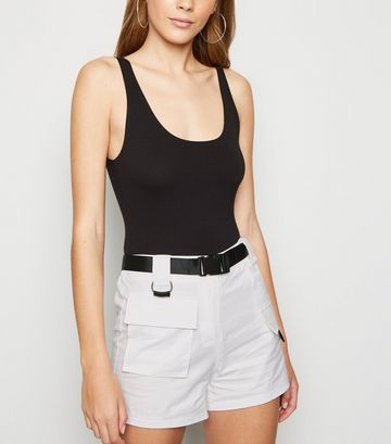 Cameo Rose White Belted Utility Shorts