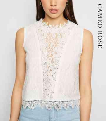 f71583429 Cameo Rose White Lace Crochet Trim Top ...