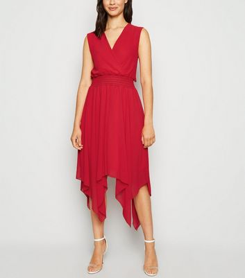 Cameo Rose Red Hanky Hem Midi Dress