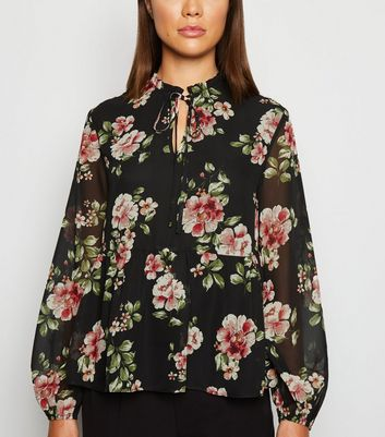 Black Floral Balloon Sleeve Peplum Blouse by New Look