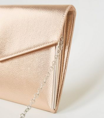 shop for Rose Gold Leather-Look Asymmetric Clutch New Look Vegan at Shopo