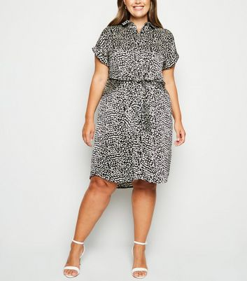 Curves Black Satin Leopard Print Shirt Dress