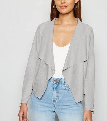 Urban Bliss Grey Suedette Waterfall Jacket