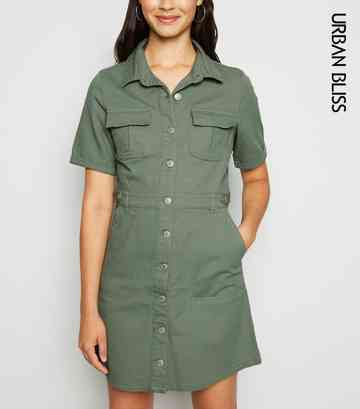 Urban Bliss Light Green Denim Utility Shirt Dress