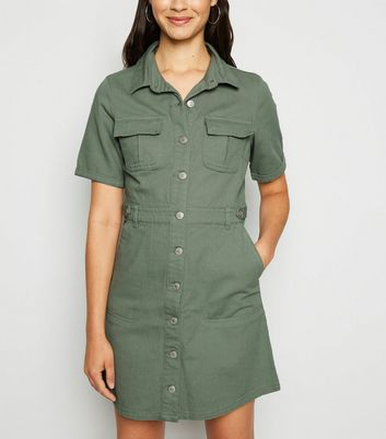 Urban Bliss Light Green Denim Utility Shirt Dress by New Look