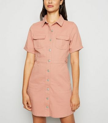 Urban Bliss Mid Pink Denim Utility Shirt Dress