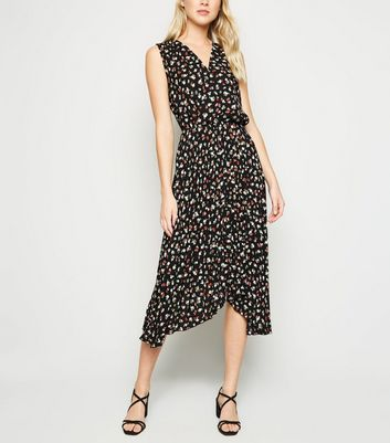 Black Floral Print V Neck Midi Dress