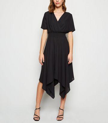 Black Shirred Waist Hanky Hem Midi Dress