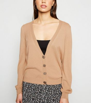 Camel Fine Knit Button Up Cardigan
