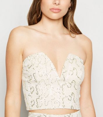 Cream Sequin Fishnet Notch Neck Crop Top