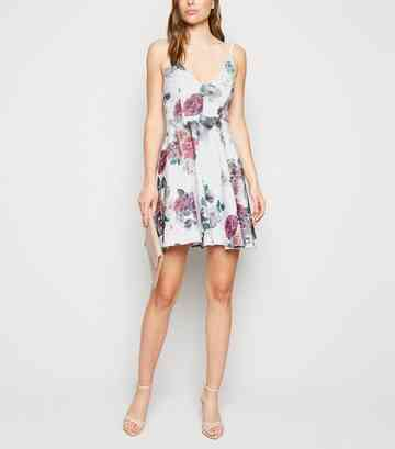 Light Grey Floral Skater Dress