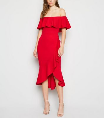 Red Ruffle Bardot Midi Dress
