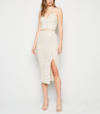 Cream Sequin Fishnet Split Midi Skirt