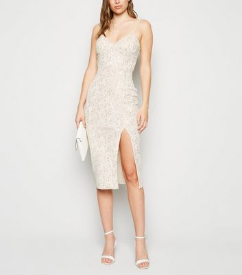 Cream Sequin Fishnet Bustier Midi Bodycon Dress
