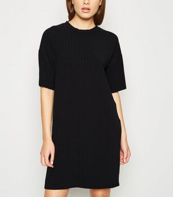 Black Ribbed T-Shirt Dress