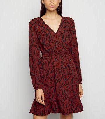 Red Tiger Print Ruffle Trim Mini Dress
