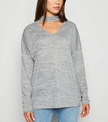 Grey Marl Fine Knit Choker Neck Top by New Look