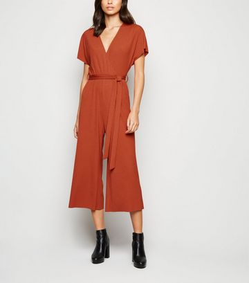 Rust Ribbed Jersey Wrap Jumpsuit