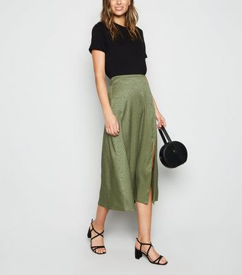 Khaki Satin Animal Print Split Midi Skirt
