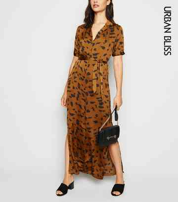 Urban Bliss Brown Animal Print Maxi Shirt Dress