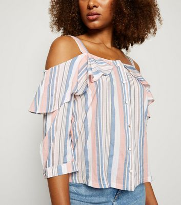 Urban Bliss Multicoloured Stripe Cold Shoulder Top