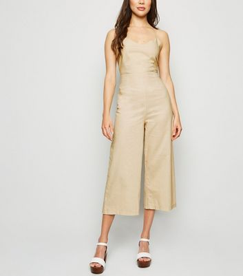 Urban Bliss Cream Linen Look Tie Back Jumpsuit