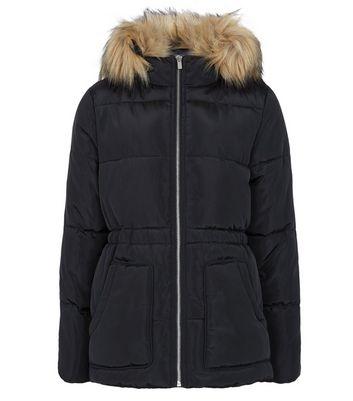 girls black faux fur hood puffer jacket new look