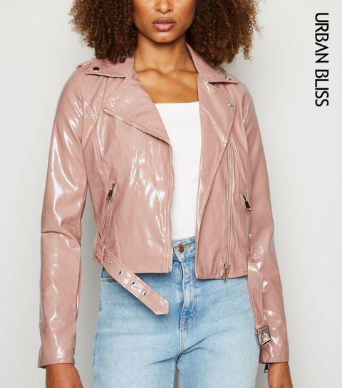 2c27a54e8c4e4 ... Urban Bliss Mid Pink Patent Biker Jacket ...