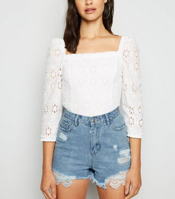 Urban Bliss Blue Ripped Crochet Trim Shorts