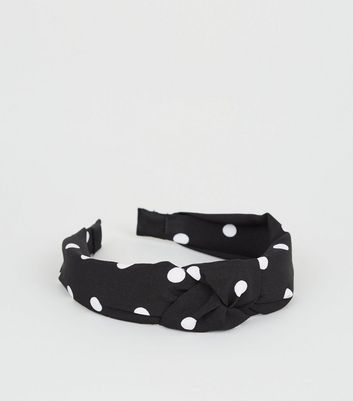 Black Polka Dot Knot Alice Band
