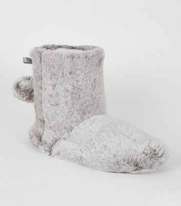 Grey Faux Fur Boot Slippers   New Look